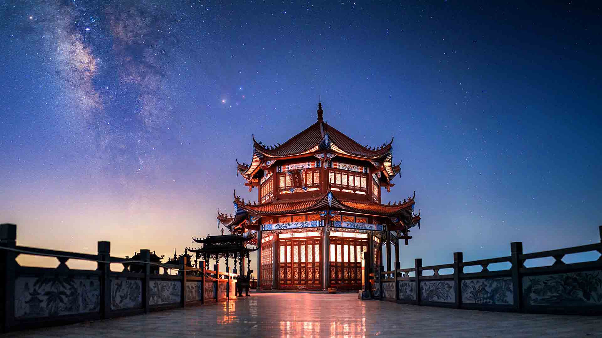 Chinese building and the Milky Way