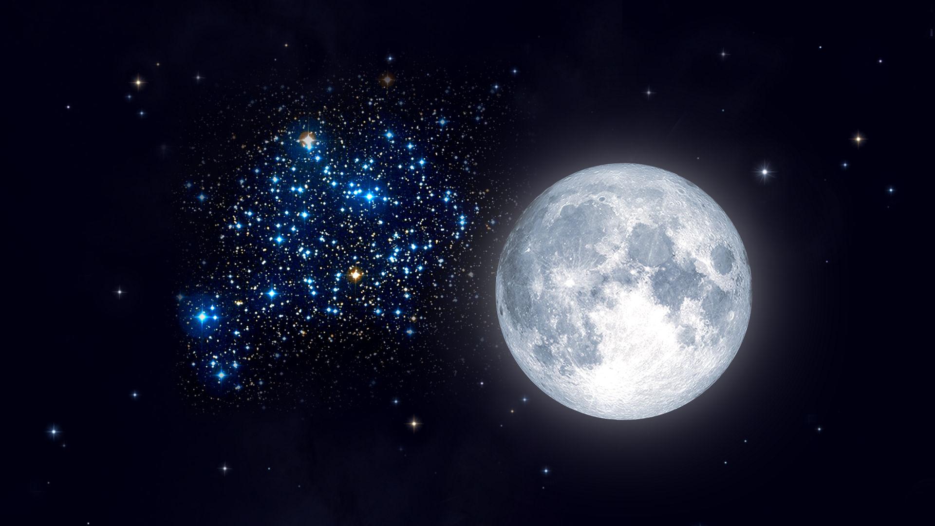 Lua fria cheia perto de Messier 35