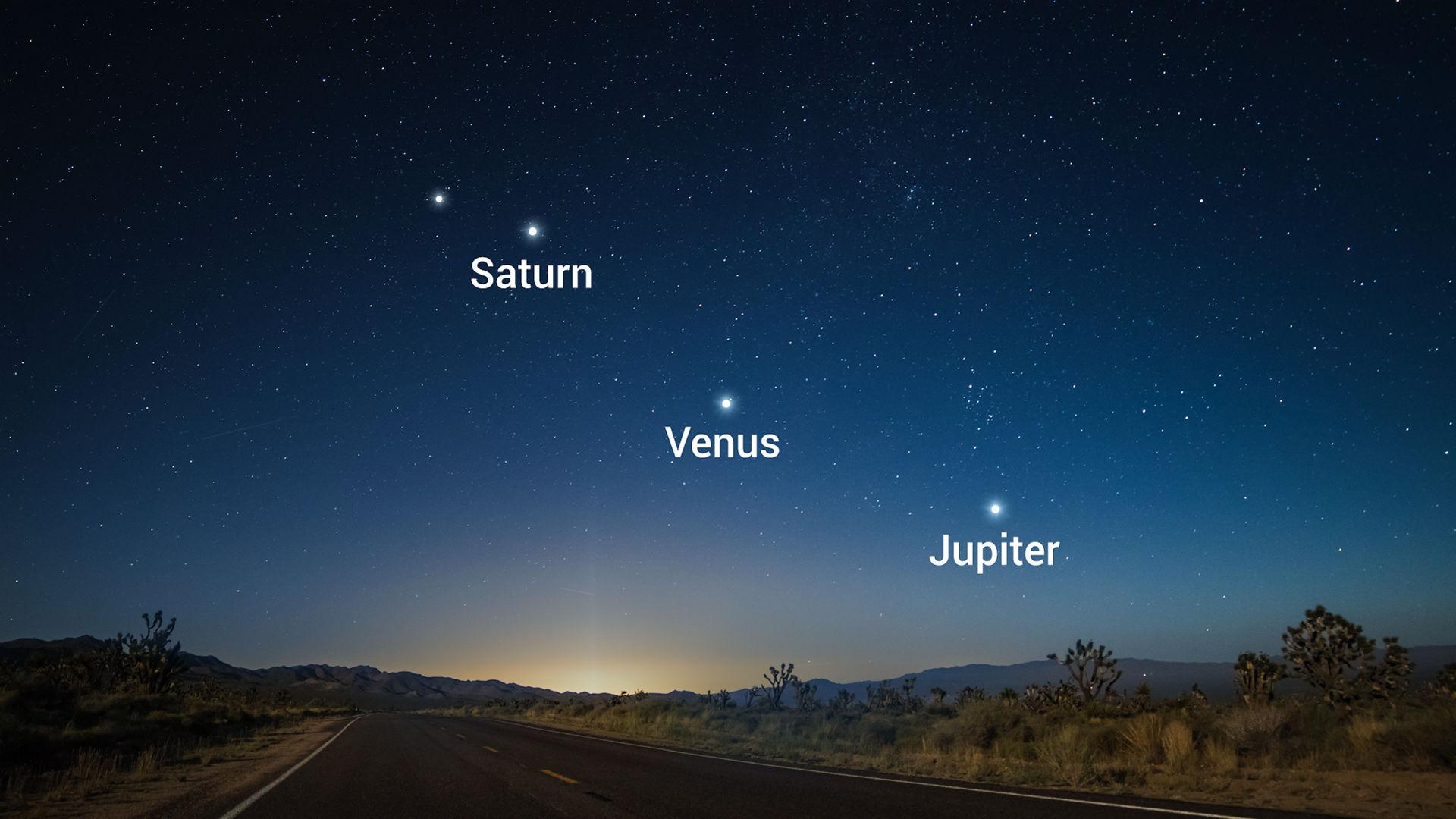 Ein Zusammentreffen von drei hellen Planeten