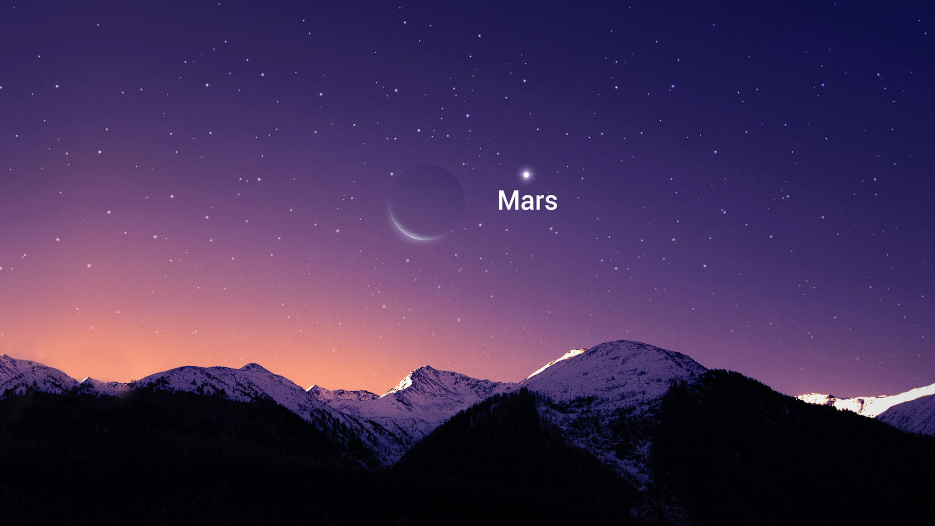 Close Approach of the Moon and Mars