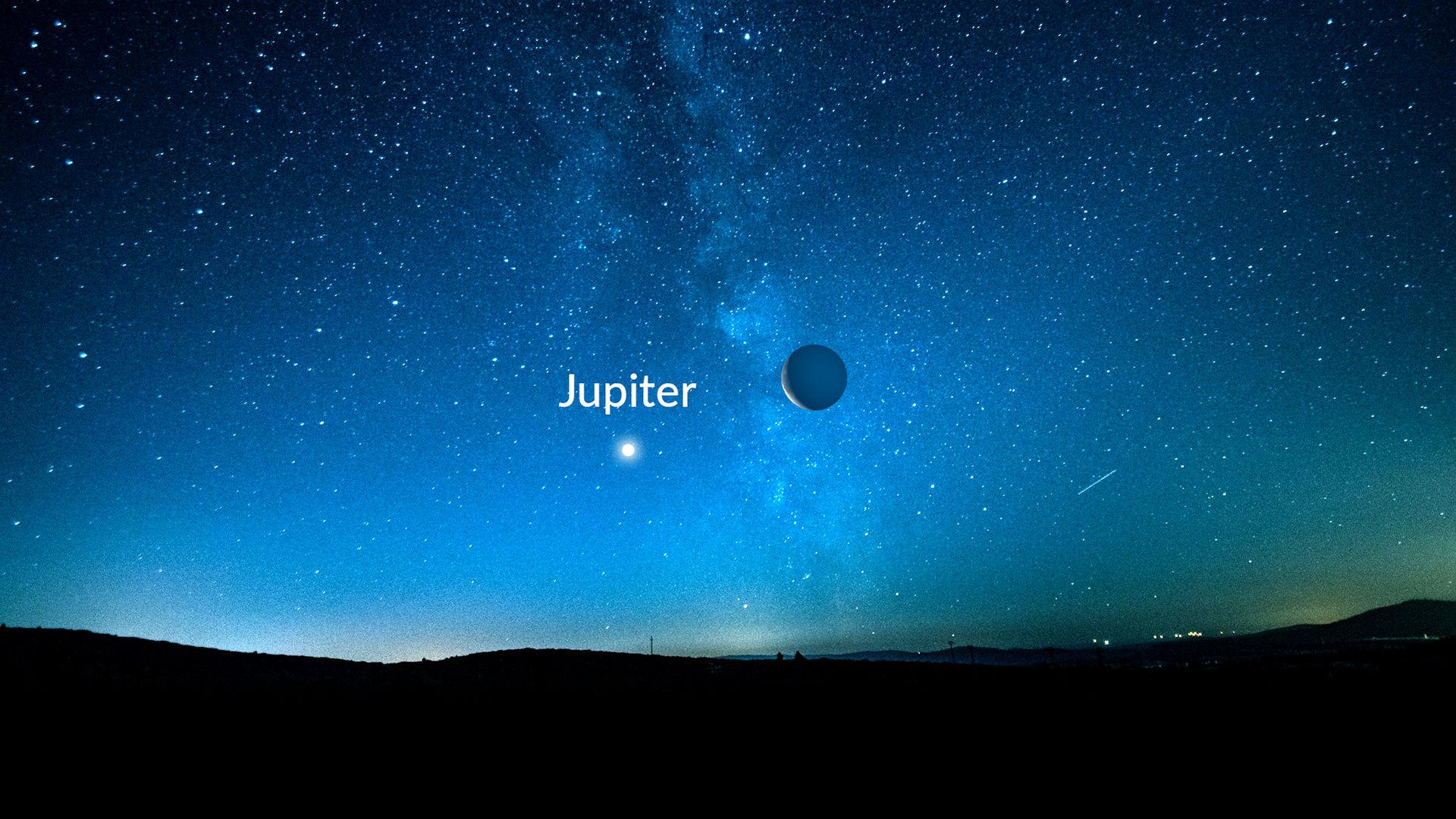 木星上方的下弦月