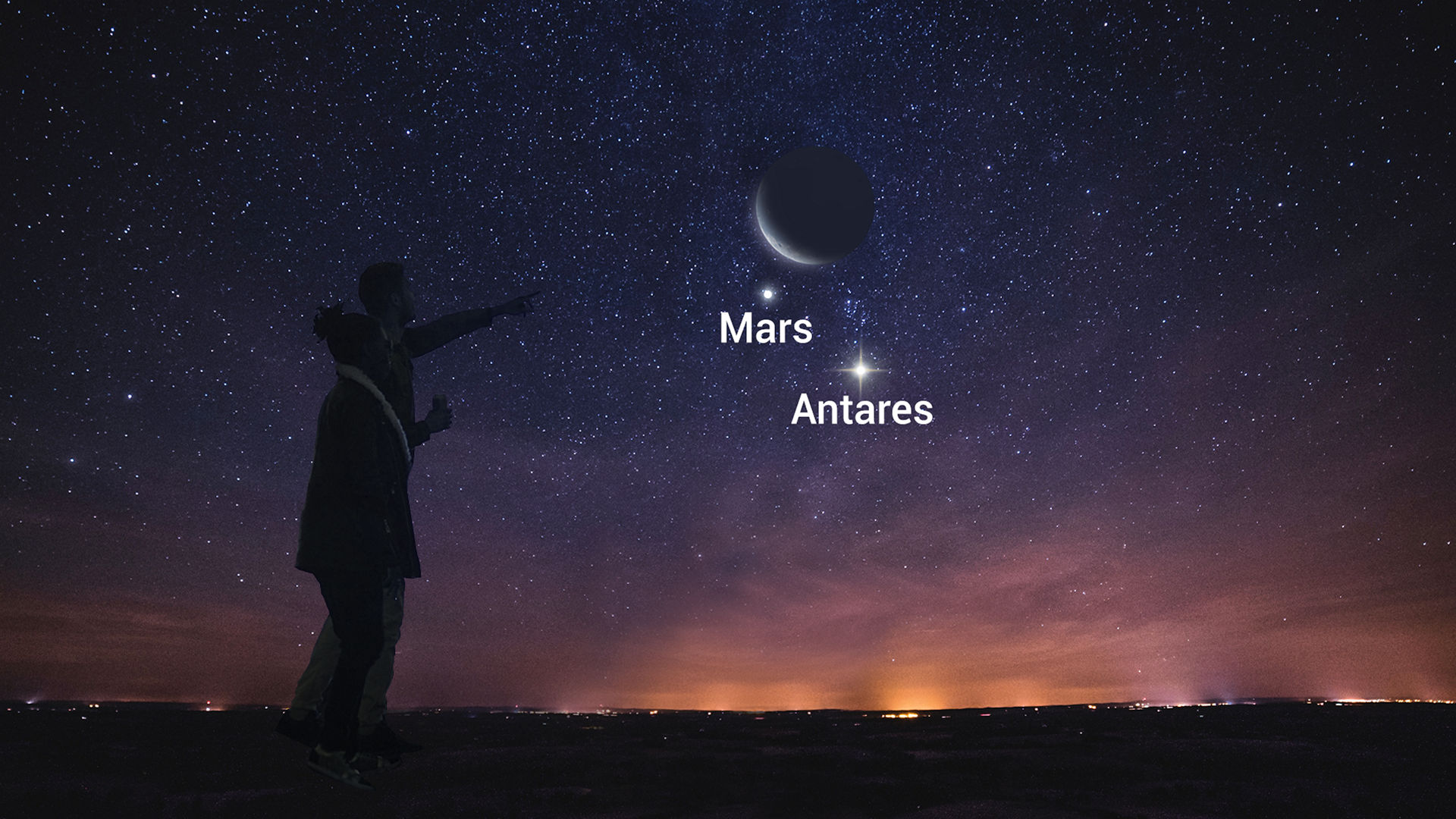 Old Moon Shines with Mars and Bright Antares