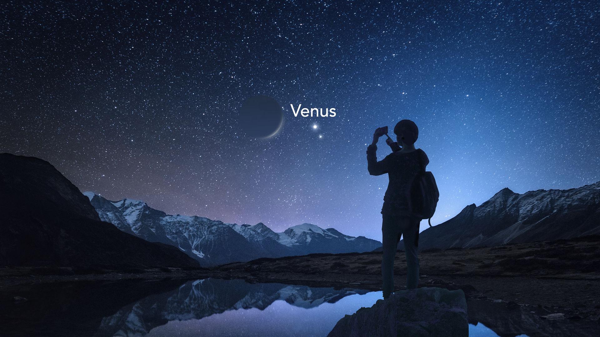 Nauwe benadering van de maan, Venus en Neptunus