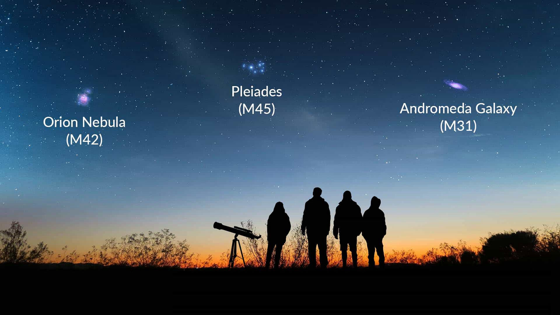 Stargazers looking at the Messier objects