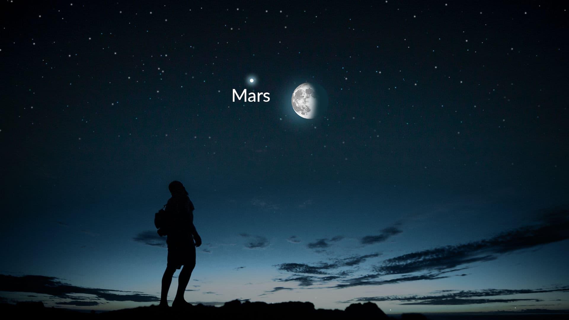 夕暮れから夜明けまでの月と火星(およびそれ以上)
