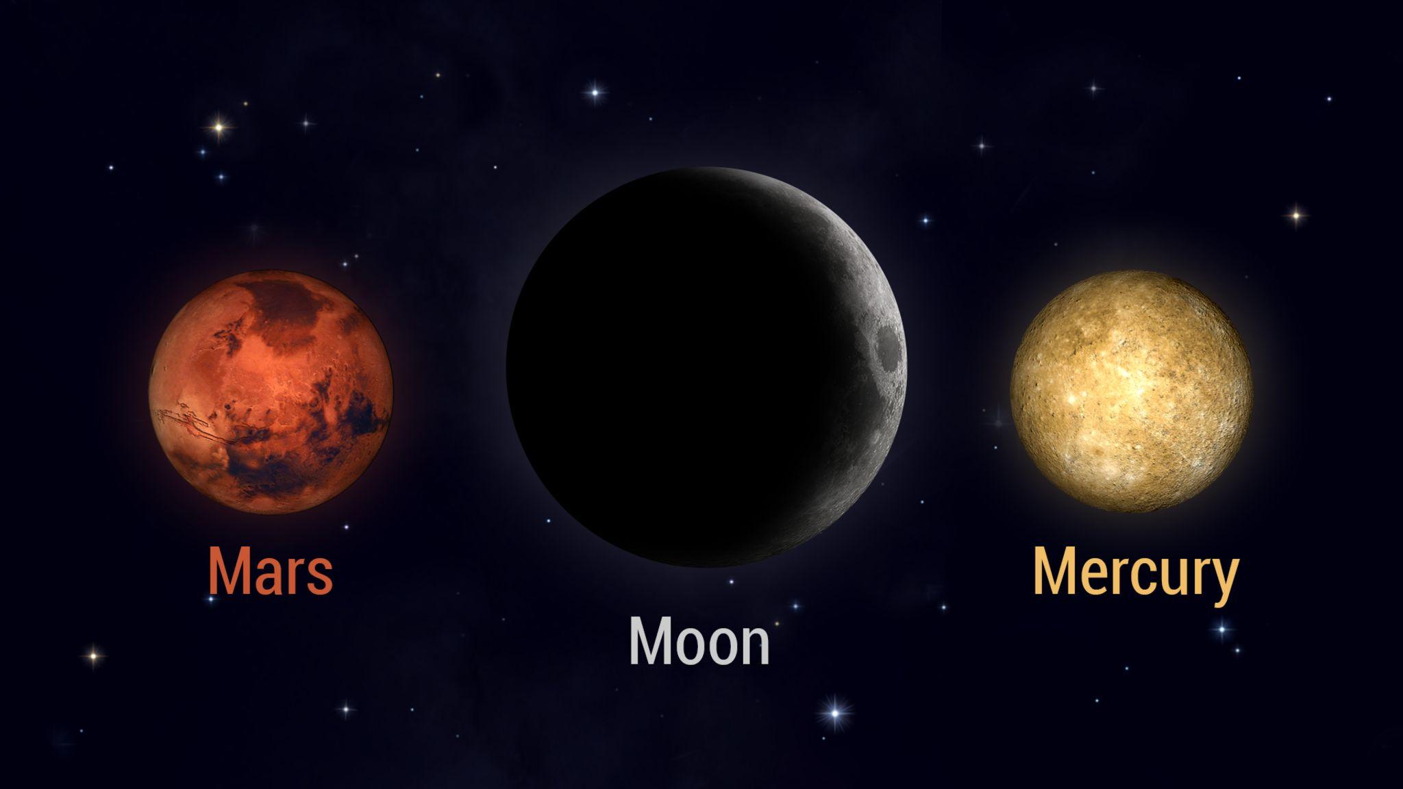 初生的月将与水星和火星见面