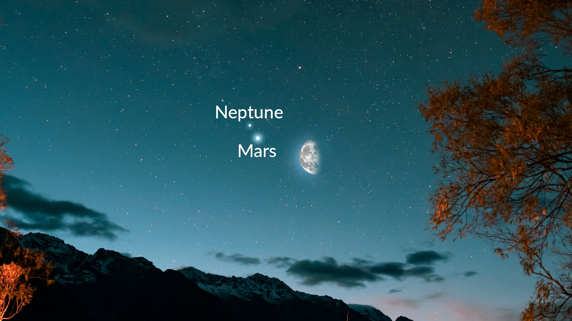 The Moon, Mars And Neptune Meet Before Dawn