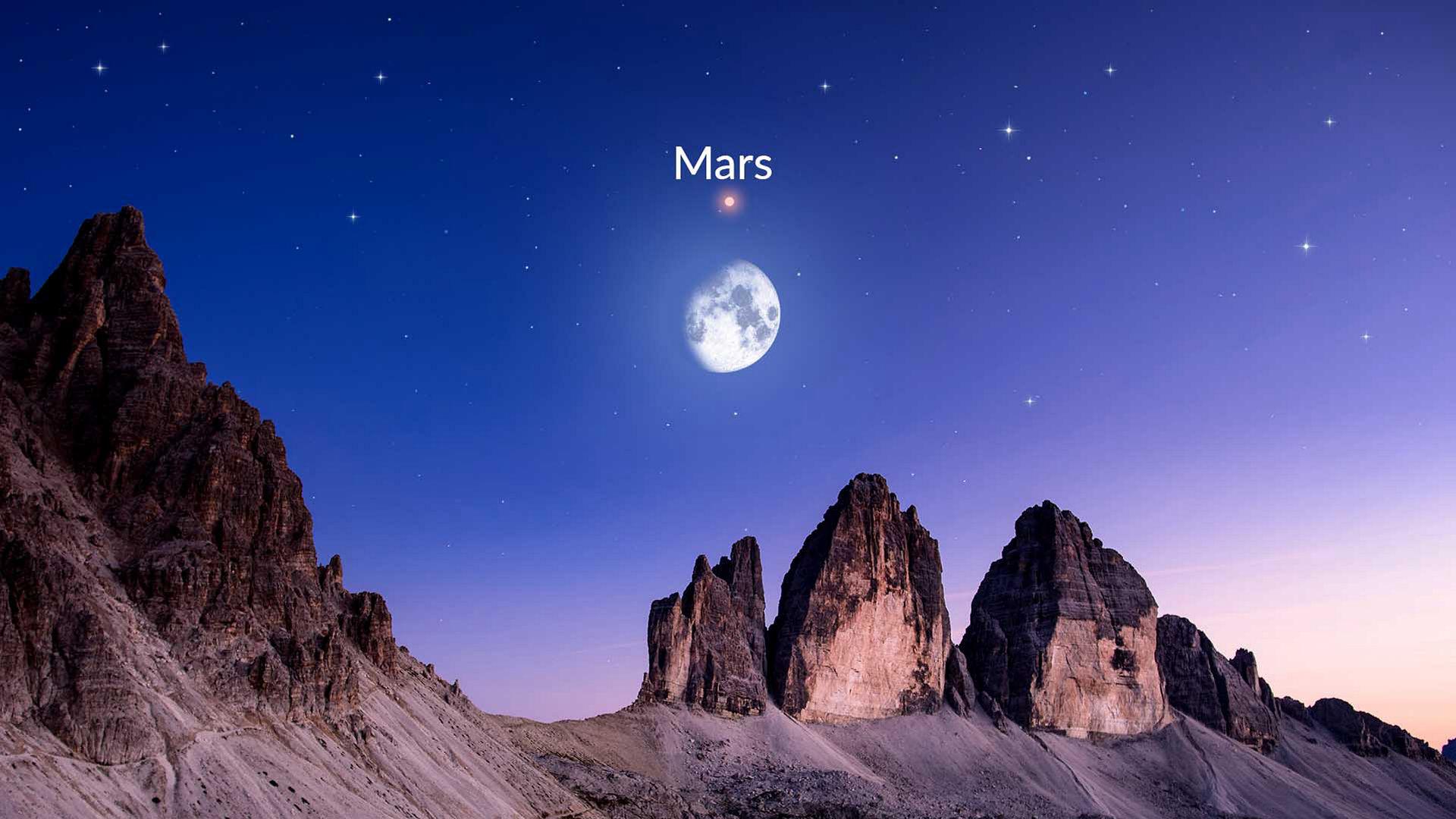 Mond und Mars tanzen zusammen am Nachthimmel