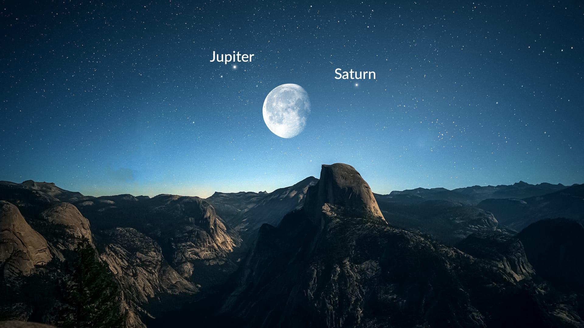 Zie eind juni de maan langs de gasreuzen passeren