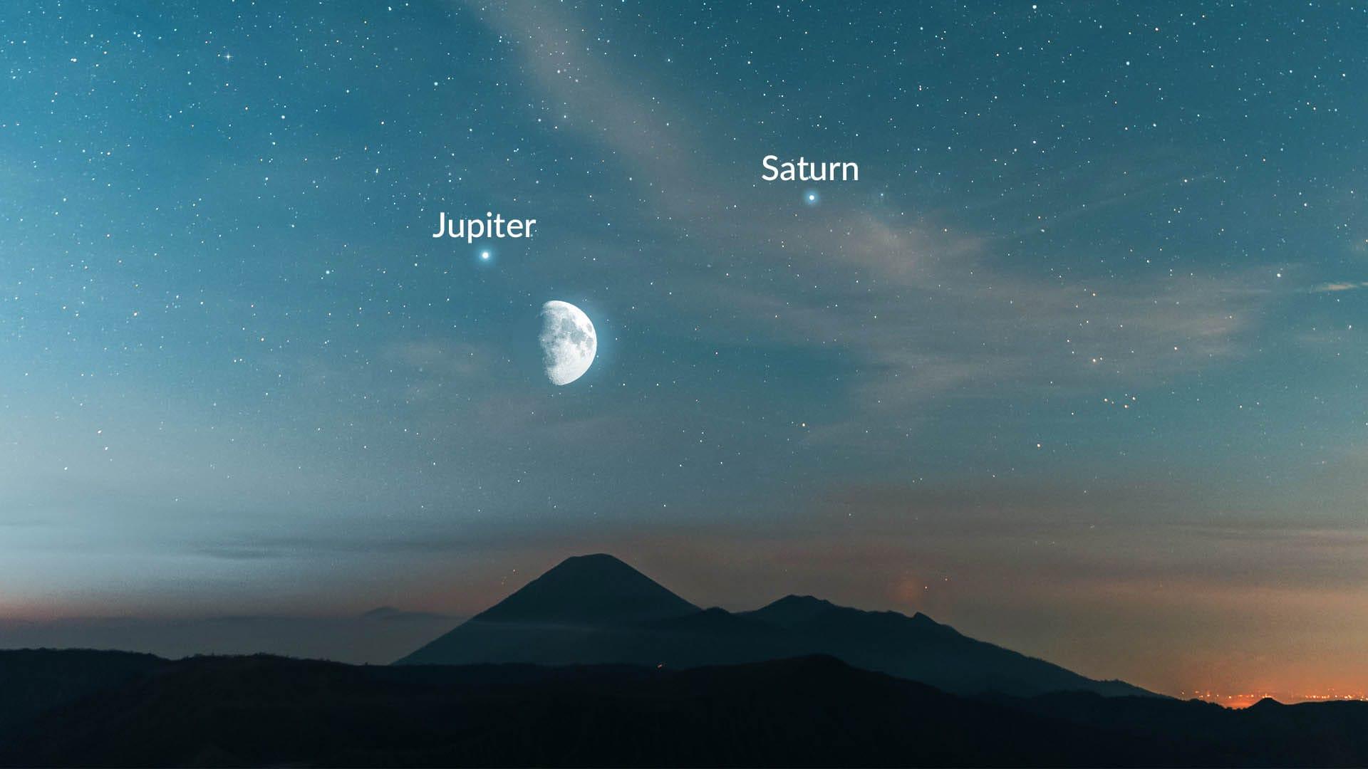 Moon, Saturn, Jupiter in October 2021