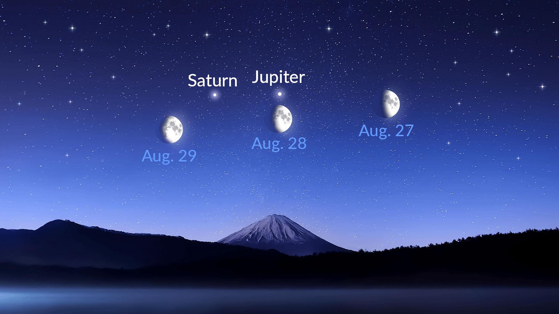A Lua, Saturno e Júpiter encontram-se no céu da noite