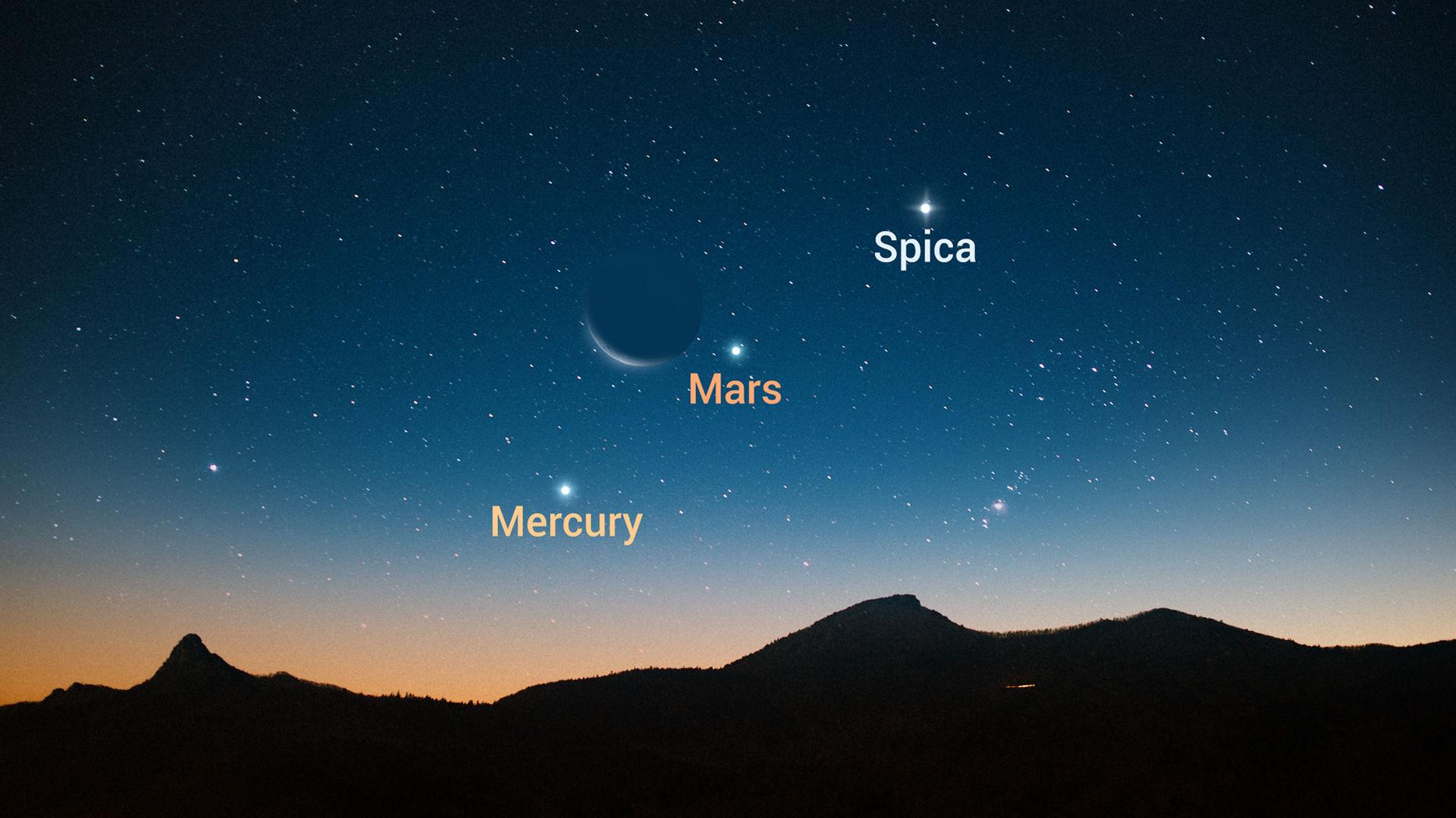 Луна встретится с Марсом, Меркурием и Спикой