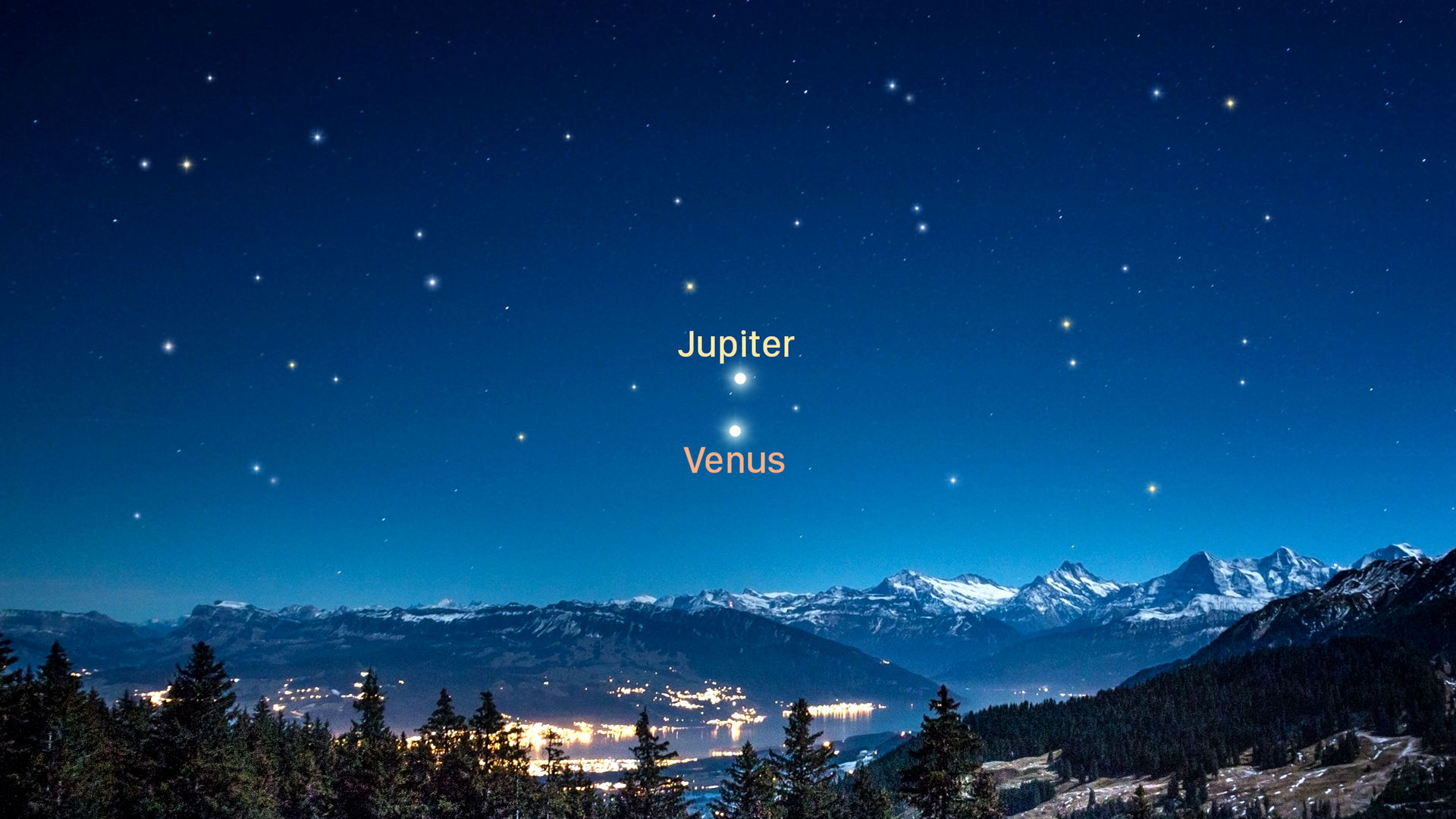 Nauwe benadering van Venus en Jupiter