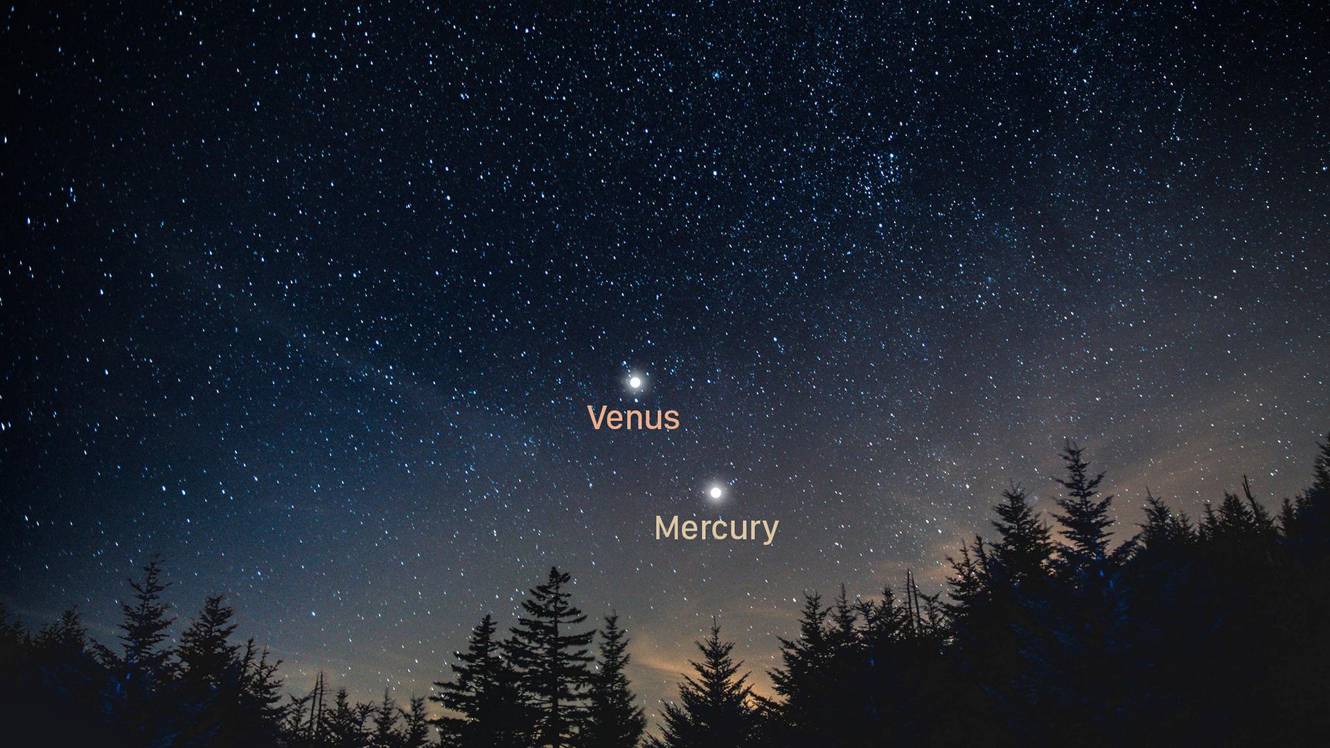 Venus embrasse Mercure au coucher du soleil