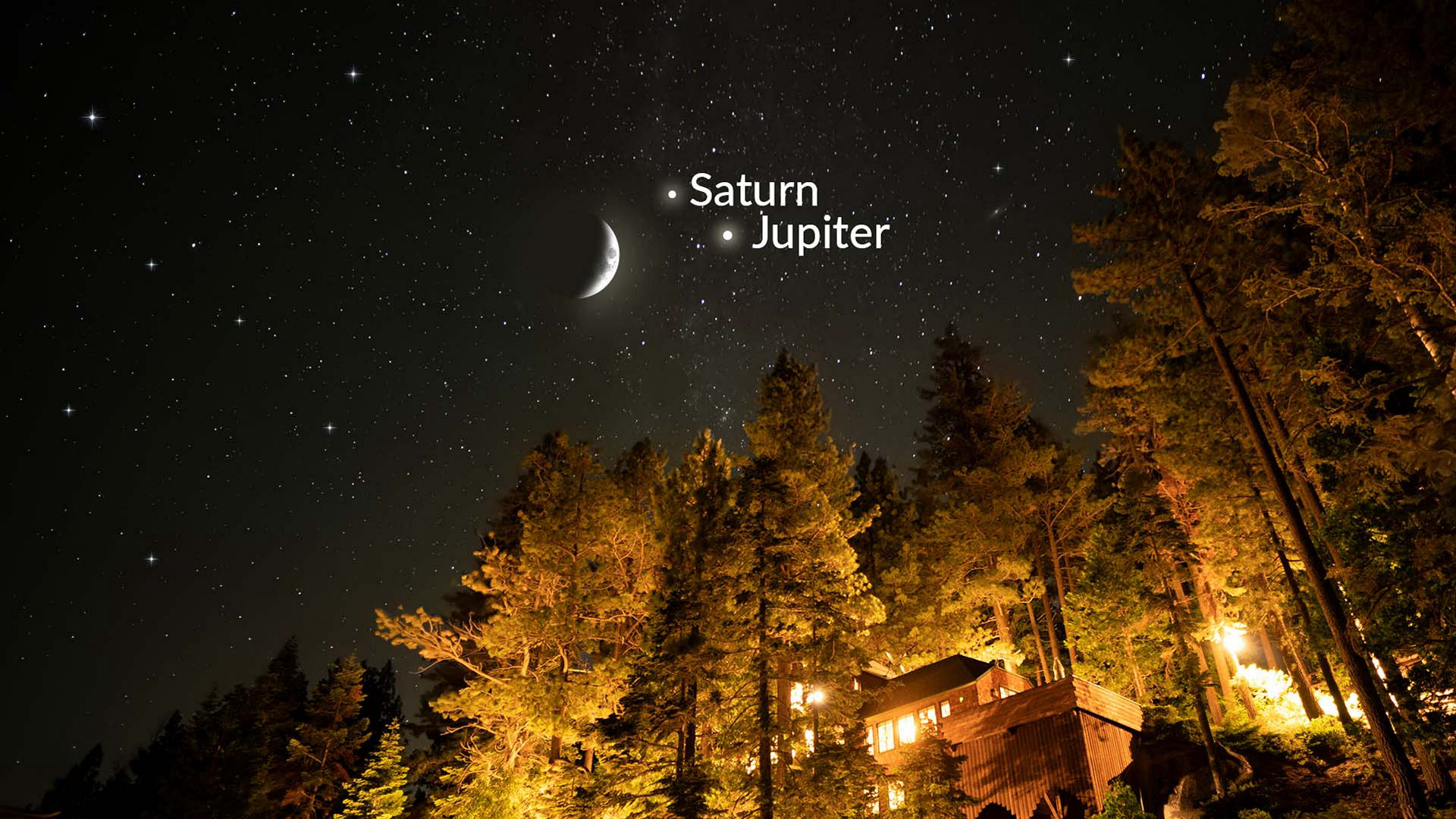 The Moon, Jupiter, and Saturn Shine Together