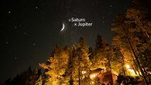 De maan, Jupiter en Saturnus schijnen samen