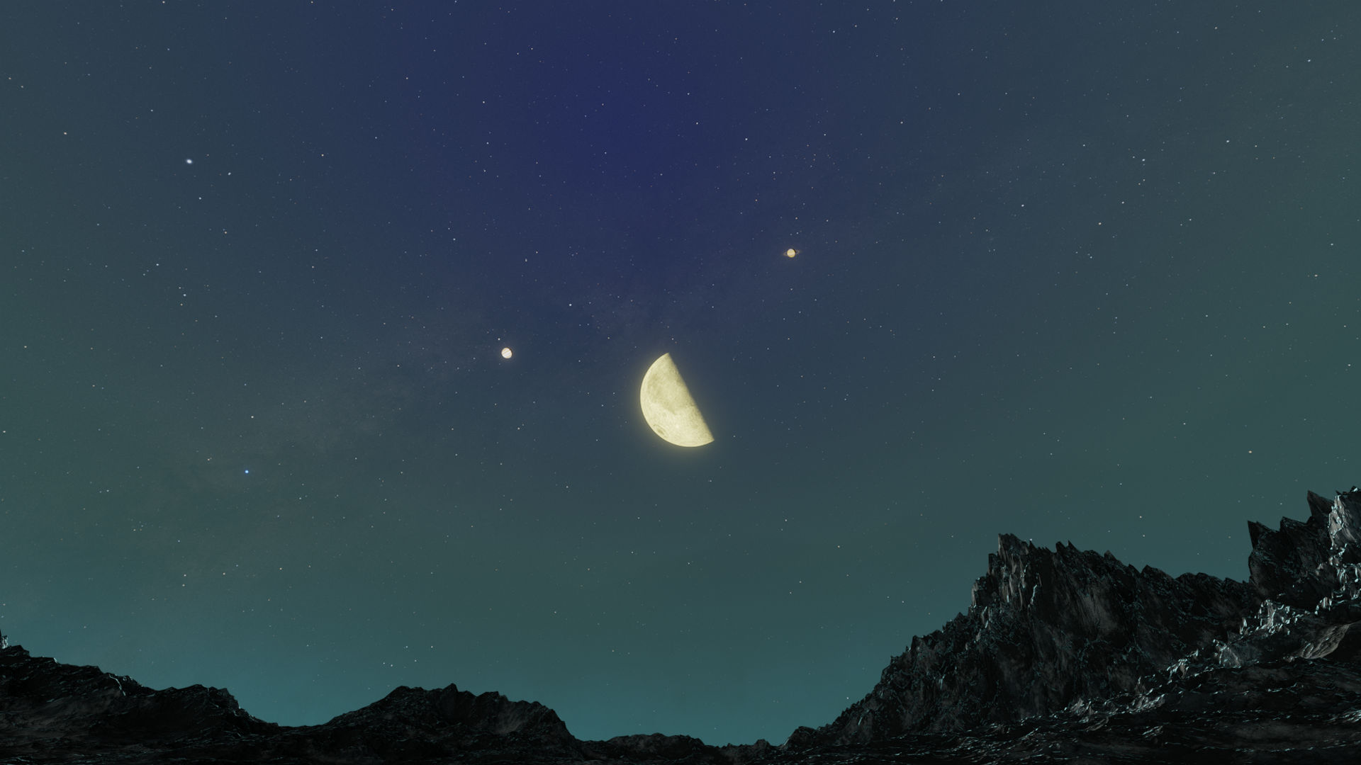 The Moon Dances with Jupiter and Saturn