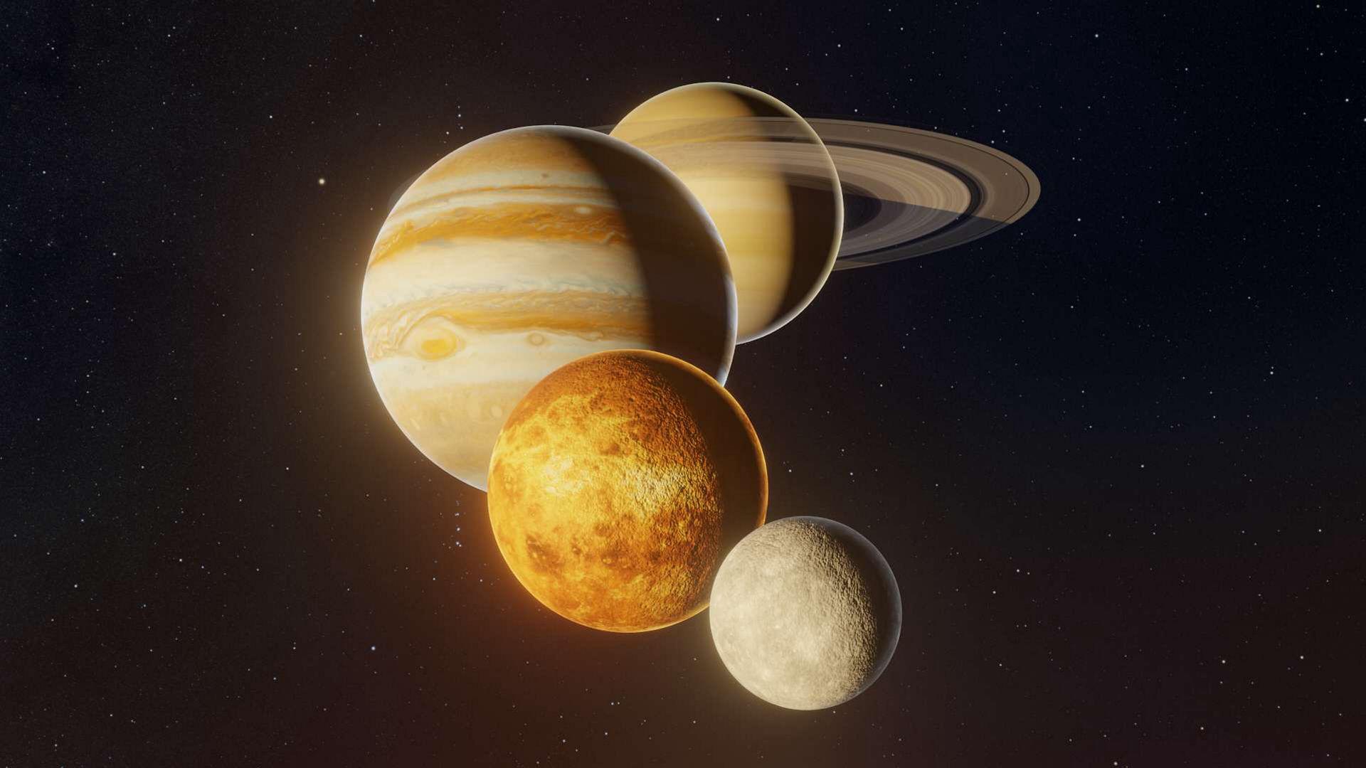 Saturn, Jupiter, Venus, and Mercury